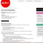 AirAsia 20% off All Destinations and Earn 2x AirAsia BIG Points