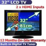 "$379.95, 32"" Full HD 1080P LCD TV, HD Digital TV Tuner, 100Hz, 2xHDMI"
