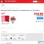 Milwaukee 29 Piece Shockwave Set with Bonus 11 in 1 Screwdriver - $19.90 + $14 Postage @ GetToolsDirect