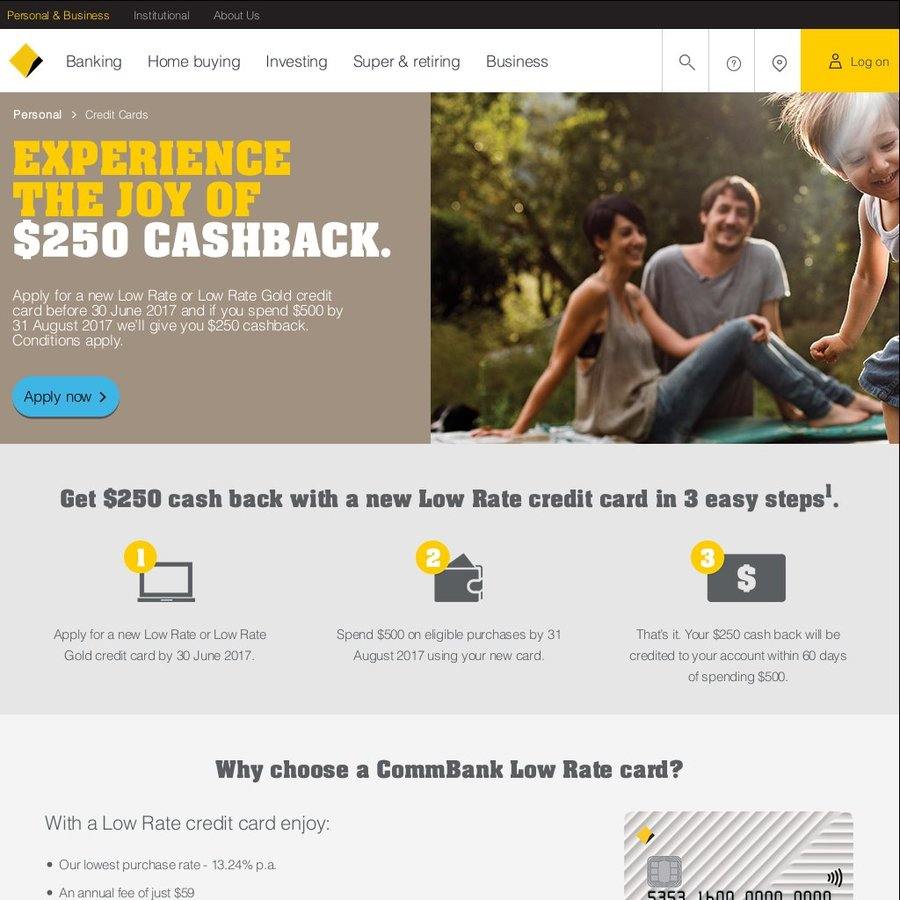 $250 Cashback after $500 Spend with Commonwealth Bank: Low Rate ...