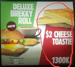 Hungry Jack's Cheese Toastie $2.00