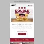KFC Double Combo $11.95 (2x Regular Zinger Combos) Via App