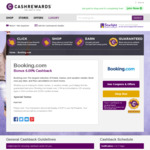 Booking.com Bonus 6.00% Cashback @ Cashrewards