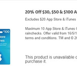 20% off iTunes Gift Cards ($30, $50, $100), Max 10 Cards Per Customer @ Coles