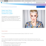 Meet Katy Perry & 10 Tickets to Other Events plus Minor Prizes from Telstra Thanks (Telstra Customers)