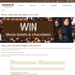 Win 1 of 10 Movie & Chocolate Prize Packs Worth $62 from Haigh's
