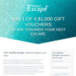 Win 1 of 4 $1,000 Gift Vouchers Towards Your Next Escape from MyNext Escape