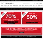 Extra 70% off Selected Already Reduced Fashion, Shoes and Accessories @ David Jones