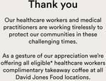 Free Coffee for Healthcare Workers @ David Jones Food