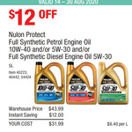 Nulon Protect Full Synthetic Engine Oil 5L: Petrol 5W30 & 10W40; Diesel 5W30 $31.99 (In-Store Only) @ Costco (Paid Membership)