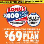 Bonus $400 Good Guys Voucher + $10 Monthly Credit + 20GB Bonus Data with Telstra $69/Month 12 Month Plan @ The Good Guys