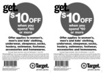 $10 off $60 Spend Required Is for Specific Departments in Target until 17/07/2013 (Coupon Req.)