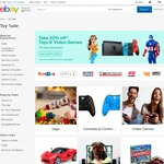 20% off Toys and Video Games from Selected Sellers on eBay (Max Discount $300) eg EB Games, Toys R Us