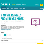 6x Movie Rentals from Hoyts Kiosks Via Optus Perks