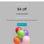 Uber $4 off 10 Rides This Week