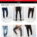 3 Jeans / Chinos for $100 (RRP $210), T-Shirts 3 for $30, Free Shipping over $50 @ Hallensteins