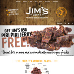 Free 85g Bag of Piri Piri Jerky with Purchase over $50 @ Jim's Jerky