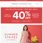 40% off Already Reduced Prices + Free Delivery over $75 @ French Connection (Online Only)