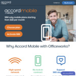 Officeworks Accord Mobile SIM Only Plans, from $15/Mth for 3GB, $25/Mth for 10GB, $45/Mth for 30GB