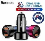 Baseus 45W Dual USB PD Type-C QC3.0 Car Charger $9.98 + Delivery (Free with eBay Plus) @ Shopping Square eBay