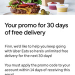 30 Days of Free Delivery @ Uber Eats