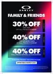 30% off One Pair or 40% off 2 or More Pairs of Eyewear, 40% off Apparels & Accessories @ Oakley (In-Store Only)