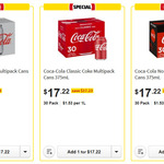 [WA, VIC] Coca-Cola Coke 30 Pack Cans 375ml $17.22 @ Coles