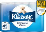 Kleenex Complete Clean Toilet Tissue, 45 Rolls $17.55 (Subscribe & Save) + Shipping ($0 Prime/Spend $39) @ Amazon