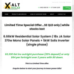 [QLD] 6.66kw JA Solar 370w Panels + 5kw single phase Solis Inverter (10 Year Warranty) Fully Installed $3,330 @ X-altsolar