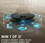 Win 1 of 3 Ecovacs Deebot Ozmo T8 AIVI Robot Vacuums Worth $1,299 from JB Hi-Fi