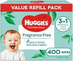 Huggies Baby Wipes Fragrance Free 400 Wipes Refill $11.25 ($9.56 S&S) + Delivery ($0 w/ $39 Spend) @ Amazon AU