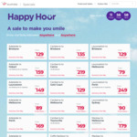 Virgin: Happy Hour eg Sydney <> Gold Coast $79, Sydney <> Melbourne $99, Perth <> SYD $179 and More @ Virgin Australia