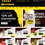 15% off End of Season Storewide + Delivery @ Highmak Cricket