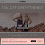 50% off Everything (Excluding Sales & Selected Lines) + $14.99 Delivery + 30% ShopBack Cashback ($25 Cap) @ Boohoo