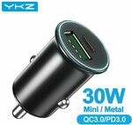 YKZ 30W USB PD & QC 3.0 Car Charger, 30W Dual QC 3.0 Car Charger US$4.06 (~A$5.19) Delivered @ YKZ Global Store AliExpress