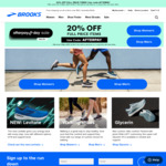 20% off Full Priced Items + $10 Delivery ($0 with $50 Order) @ Brooks Running