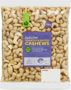 Roasted or Roasted & Salted Cashews 750g $9.50 @ Woolworths