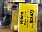 Nikon 35mm 1.8g DX Lens $249 @ Broadway Camera Warehouse NSW