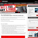 Yokohama Tyre Special - Buy 3 Tyres Get 4th Tyre Free (May or May Not Charge 4th Tyre Disposal)