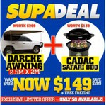 DARCHE Awning & Gas BBQ $149 Free Shipping Aus Wide @ 4WD Supa Centre