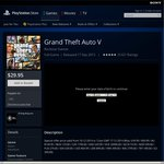 Grand Theft Auto 5 PS3 $29.95 @ PS Store