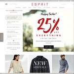 25% OFF EVERYTHING - Happy Easter from Esprit - Online Now & in Store from Saturday 4th April