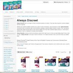 Take 60% off Always Discreet Ladies Sanitary Liners, Pads and Pants at PampersNappies.com.au