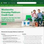 Woolworths Everyday Platinum Credit Card - 14mth 0% BT, No Fee 1st Yr (Then $49yr), $100 eGift Card