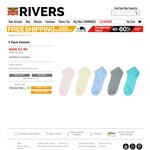 5 Pack Socks Men's and Women's $1.99 Were $5.00 Delivered @ Rivers