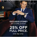 25% off All Full-Priced Items @ T.M. Lewin, King St, Sydney (Today Only)