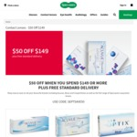 Specsavers Contact Lenses: $50 off Spend of $149 + Free Shipping