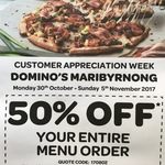 Domino's Maribyrnong VIC 50% off Customer Appreciation Week