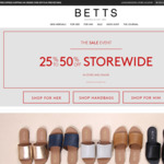 25% to 50% off Storewide @ Betts Shoes