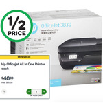 HP OfficeJet 3830: All in One Printer $40 (Was $80) @ Woolworths